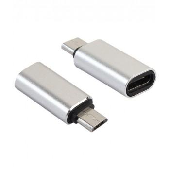 OEM Αντάπτορας μετατροπέας Type-C to Micro USB Ασημί