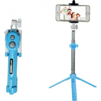 Oem Combo selfie stick with tripod and remote control bluetooth Γαλάζιο