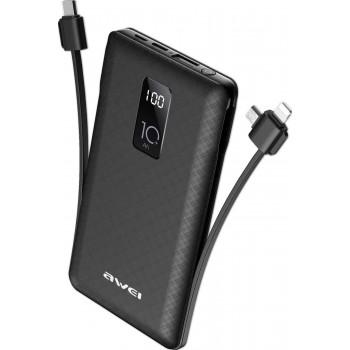 Awei P8K  Adaptive Charge Power Bank 10000 mAh - Μαύρο