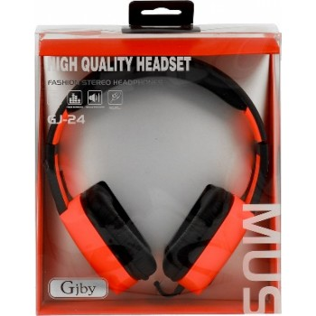 Gjby Stereo Headphones GJ-24 Ενσύρματα Ακουστικά με Υποδοχή 3.5mm και Μικρόφωνο Πορτοκαλί