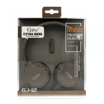 Gjby Stereo Headphones GJ-12 Ενσύρματα Ακουστικά με Υποδοχή 3.5mm και Μικρόφωνο Καφέ