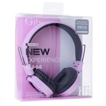 Gjby Stereo Headphones GJ-14 Ενσύρματα Ακουστικά με Υποδοχή 3.5mm και Μικρόφωνο Μωβ