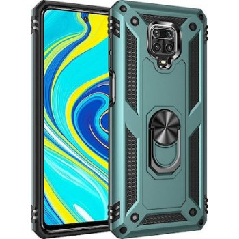 OEM Ring Holder Back Cover Για Xiaomi Redmi Note 9s / Note 9 Pro / Note 9 Pro Max Πράσινο