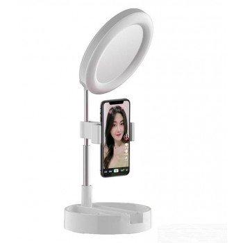 Αναδιπλούμενη βάση κινητού με  ρυθμιζόμενο LED - Καθρέπτη Mai Appearance G3 Άσπρο