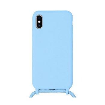 OEM Cord  Silicone Case Γαλάζια Θήκη Για Apple iPhone X / XS Με Λουράκι Γαλάζιο