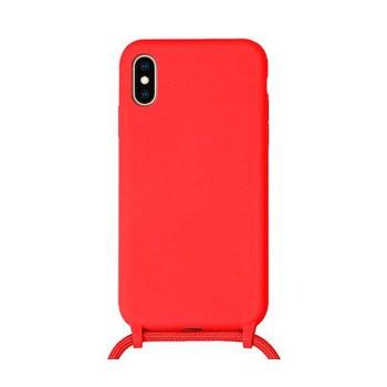 OEM Cord  Silicone Case Κόκκινη Θήκη Για Apple iPhone X / XS Με Λουράκι Κόκκινο