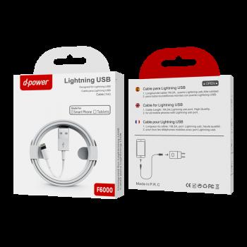 D-Power F6000 Καλώδιο Φόρτισης Και Μεταφοράς Δεδομένων Για Iphone Lightning 1m Λευκό