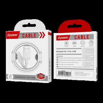 D-Power F6002 Καλώδιο Φόρτισης Και Μεταφοράς Δεδομένων USB Type C 1m Λευκό
