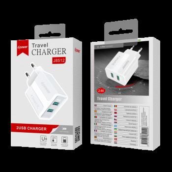 D-Power J8512  Φορτιστής Ταξιδιού Αντάπτορας 2 USB Charger 2.4Α Άσπρος