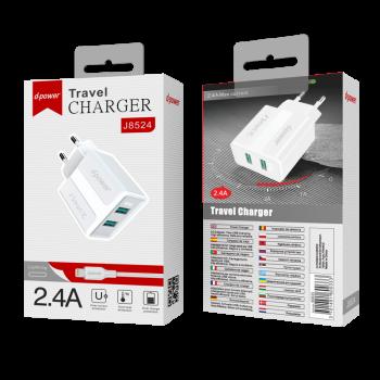 D-Power J8524  Φορτιστής Ταξιδιού Αντάπτορας 2 USB Με καλώδιο Lightning   2.4Α  Άσπρος