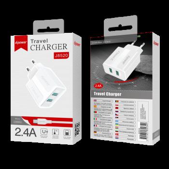 D-Power J8520  Φορτιστής Ταξιδιού Αντάπτορας 2 USB Με καλώδιο Micro USB  2.4Α Άσπρος