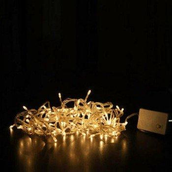 100 Λαμπάκια LED Κίτρινο με Προγράμματα Σειρά Άσπρο Καλώδιο Ρεύματος 8m T001