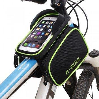 """B-SOUL Αδιάβροχο Τσαντάκι Ποδηλάτου με Θήκη Κινητού εώς 6"""" Μαύρο - Πράσινο"""