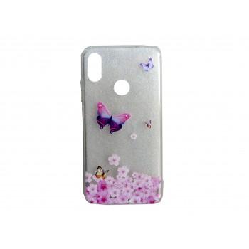 Oem Θήκη Σιλικόνης Για Samsung Galaxy A40 Με Σχέδιο Butterfly Ροζ