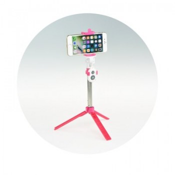 Oem Combo selfie stick with tripod and remote control bluetooth Ροζ
