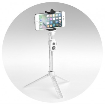 Oem Combo selfie stick with tripod and remote control bluetooth Λευκό