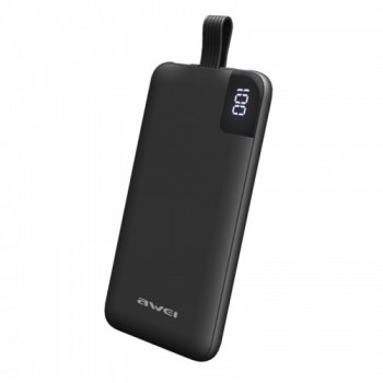 Awei P67K 10000mAh Power Bank με Ενσωματωμένο Καλώδιο Lightning iPhone Μαύρο