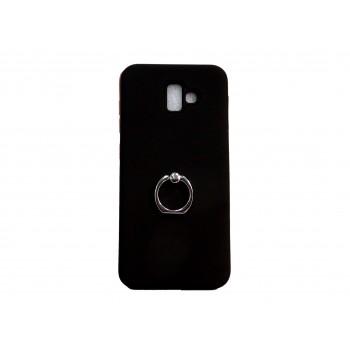 OEM Hard Back Cover Ring Stand Case Σκληρή Θήκη με Δαχτυλίδι Στήριξης Για Samsung Galaxy J6 Plus 2018 μαύρη