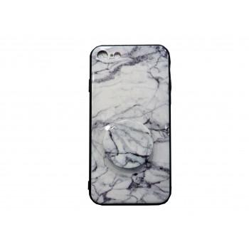OEM Back Cover Σιλικόνης με Pop Socket Για Apple iPhone 7/8 Plus marble effect Άσπρο