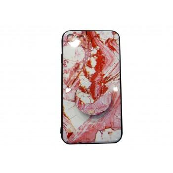 OEM Back Cover Σιλικόνης με Pop Socket Για Samsung Galaxy A9 2018 / A9s marble effect Ροζ