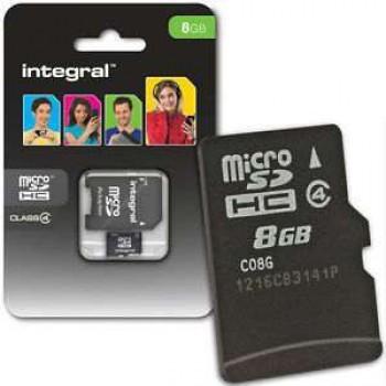 INTEGRAL MICRO SDHC 8.0GB CLASS 4 ΚΑΡΤΑ ΜΝΗΜΗΣ + SD ADAPTOR