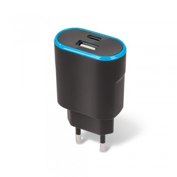 Forever wall charger TC-03 with port USB + type-C black