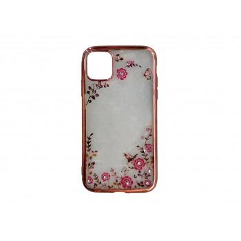 Θήκη Σιλικόνης Για Apple iPhone 11 Pro Διάφανη με Σχέδιο Diamond Garden Ροζ Χρυσό