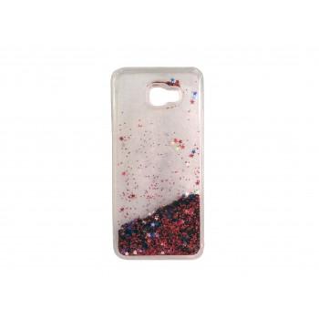 Oem Liquid Glitter Back Cover Θήκη Σιλικόνης Με Υγρό Glitter Για Samsung Galaxy J6 Plus 2018 Κόκκινο