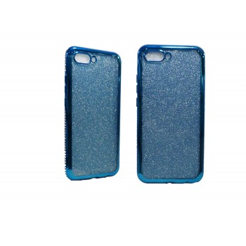 OEM Back Cover Σιλικόνης με Glitter και περιμετρικά Strass Για Apple iPhone 7/8 Μπλε