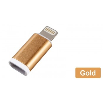 OEM Lightning male σε micro USB female χρυσό