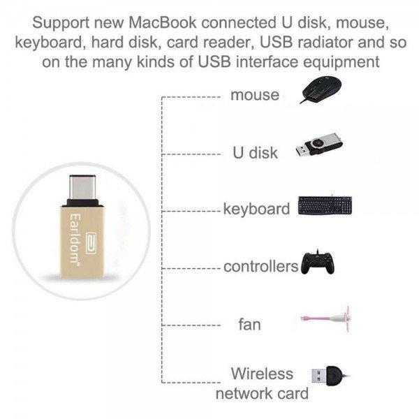 OEM Earldom  USB-C σε USB OTG Αντάπτορας Ασημί