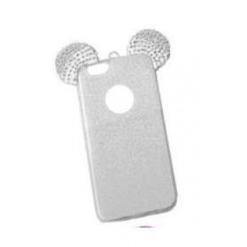 OEM Back Cover Σιλικόνης Glitter Ears As Mickey Άσπρη iphone 7 plus
