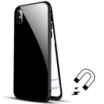 oem Μαγνητική Μεταλλική Θήκη Detachable Metal Frame με Πίσω Όψη από Tempered Glass για Apple iPhone XS Max Mαυρή
