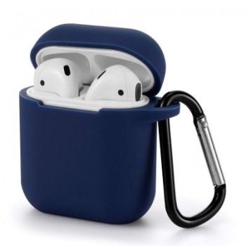 OEM Θήκη Σιλικόνης Με Γάντζο Για Apple AirPods Μπλε Σκούρο