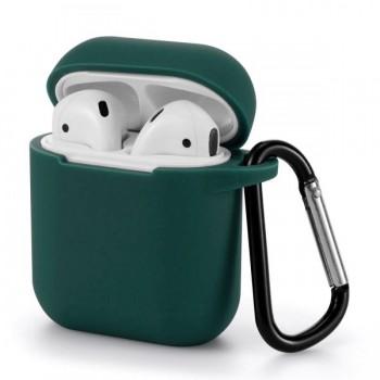 OEM Style Θήκη Σιλικόνης Με Γάντζο Για Apple AirPods Πράσινο Σκούρο