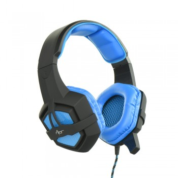 Headset Gaming with mirophone ART Flash with light Μαύρο - Γαλάζιο