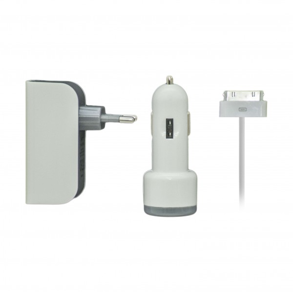 Forever Apple 30pin Wall & Car Adapter Set Λευκό