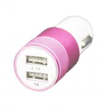 OEM Φορτιστής Αναπτήρα Αυτοκινήτου (USB) 2πλός 2.1A Μεταλλικός Ροζ