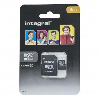 Micro SD 4GB + Adaptor Class 4 Integral INMSDH4G4V2