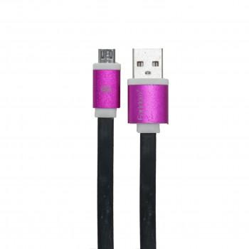 Eardom Καλώδιο Φόρτισης + Μεταφοράς Δεδομένων Micro USB Πλακέ Μαύρο - Ροζ - 1m