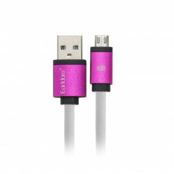Eardom Καλώδιο Φόρτισης + Μεταφοράς Δεδομένων Micro USB Πλακέ Λευκό-Ροζ - 1m