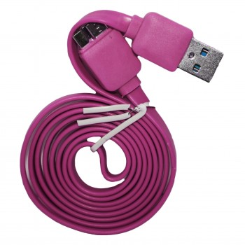 BWOO Καλώδιο Φόρτισης + Μεταφοράς Δεδομένων MICRO USB 3.0 1 m Πλακέ Ροζ