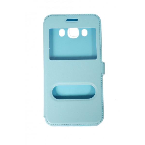 OEM  Θήκη Βιβλίο Με Παράθυρα Για Samsung Galaxy J5 (2016) Με Πλάγιο Κούμπωμα Γαλάζια Θήκες