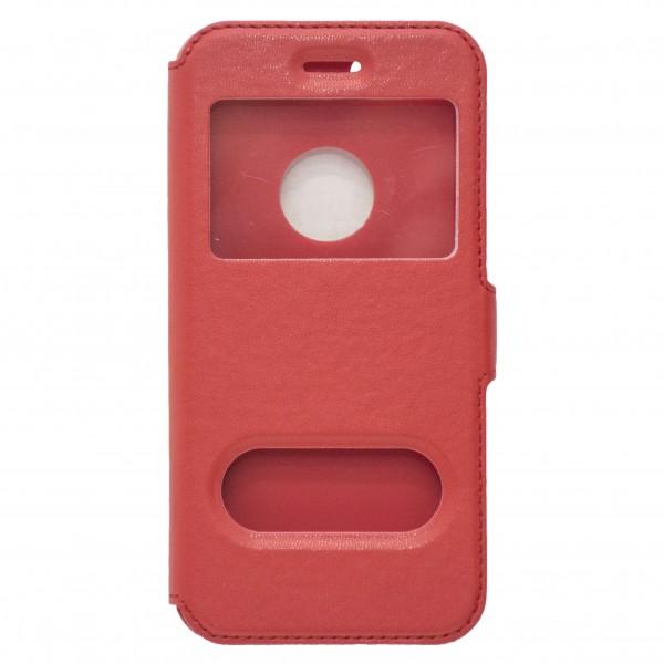 OEM Θήκη Βιβλίο Με Παράθυρα Για iPhone 7 Κόκκινη