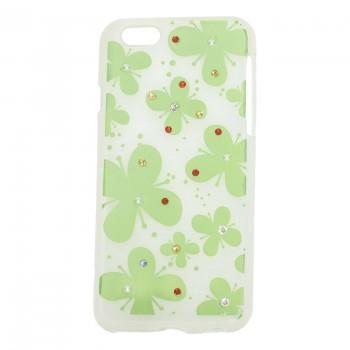 OEM Θήκη Σιλικόνης Για Apple iPhone 6G/6S Με Σχέδιο Πεταλούδες Με Στρασσάκια Πράσινες