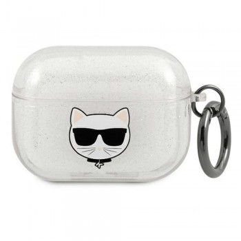 Karl Lagerfeld case for Airpods Pro KLAPUCHGS silver Glitter Choupette