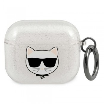 Karl Lagerfeld case for Airpods 3 KLA3UCHGS silver Glitter Choupette